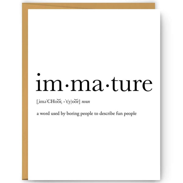 IMMATURE DEFINITION CARD