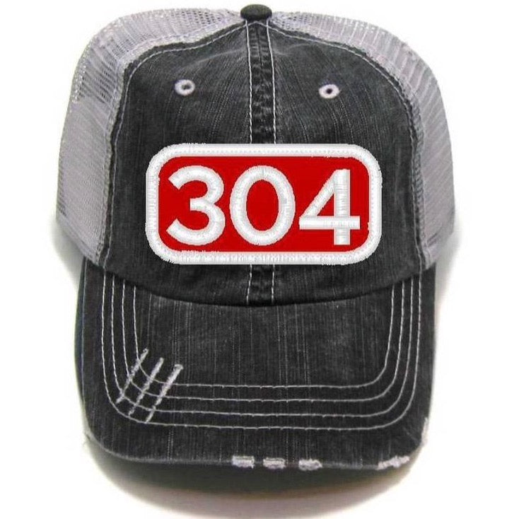 WV - Distressed Trucker Hat - Coal & Red Patch