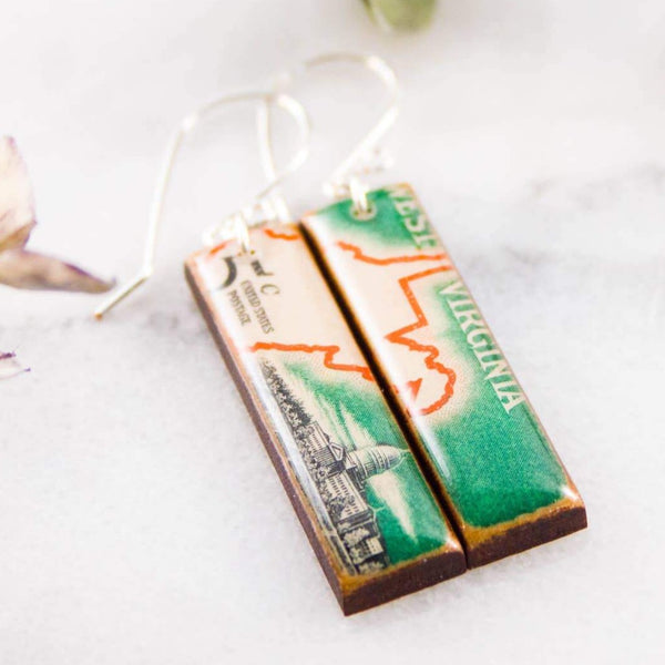 VINTAGE WEST VIRGINIA POSTAGE STAMP EARRINGS