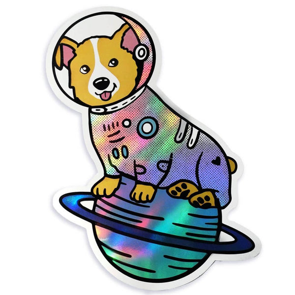 SPACE CORGI HOLOGRAPHIC STICKER