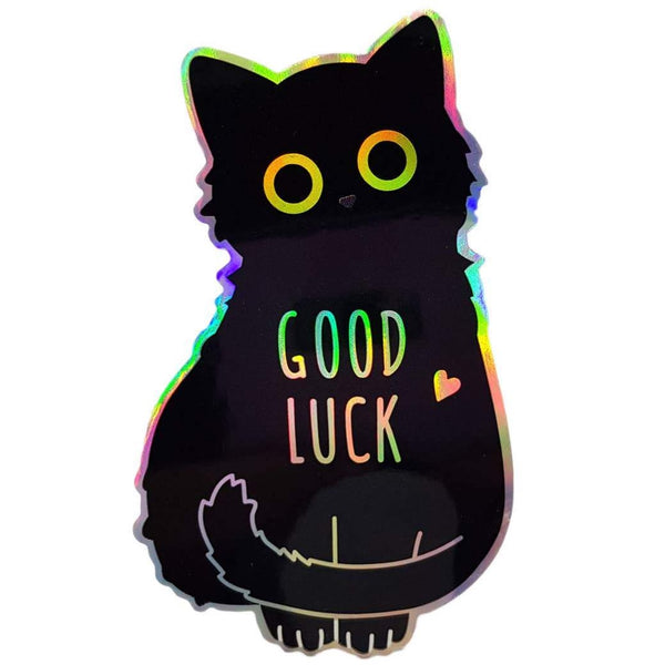 GOOD LUCK BLACK CAT HOLOGRAPHIC EYES STICKER