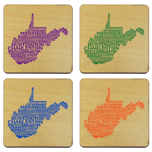 WV STATE TYPOGRAPHY COASTER SET