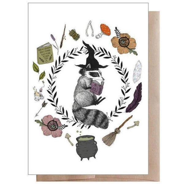 RACCOON MAGIC STUDENT HALLOWEEN CARD