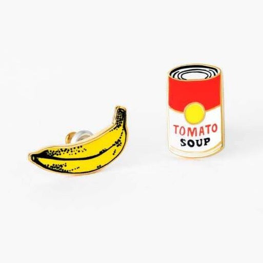 POP ART BANANA & SOUP CAN EARRINGS