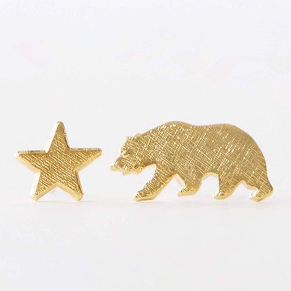GOLD BEAR & STAR EARRINGS