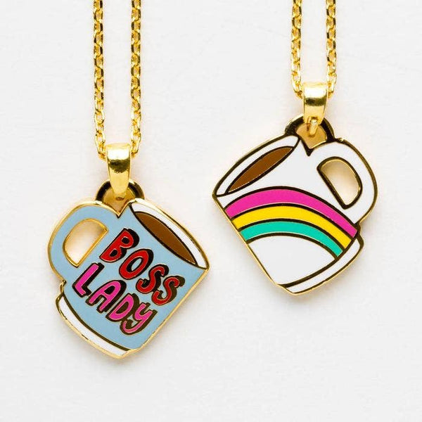BOSS LADY MUG DOUBLE SIDED PENDANT