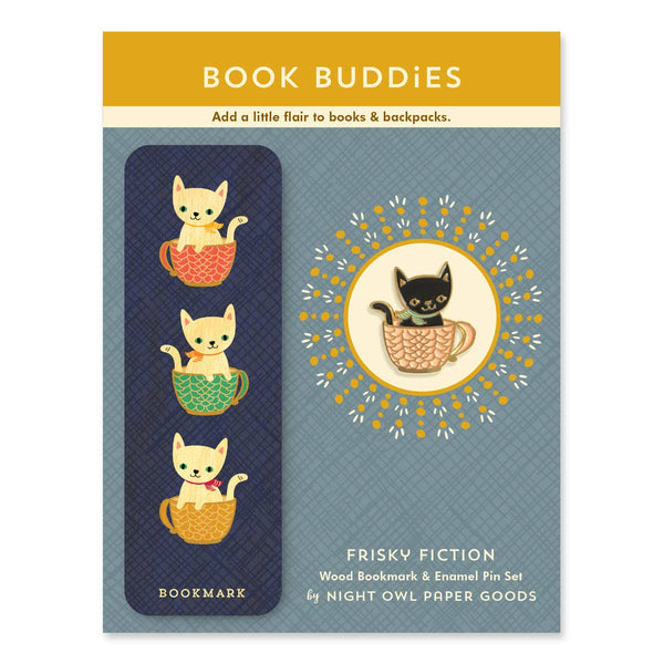 FRISKY FICTION ENAMEL PIN & BOOK MARK SET