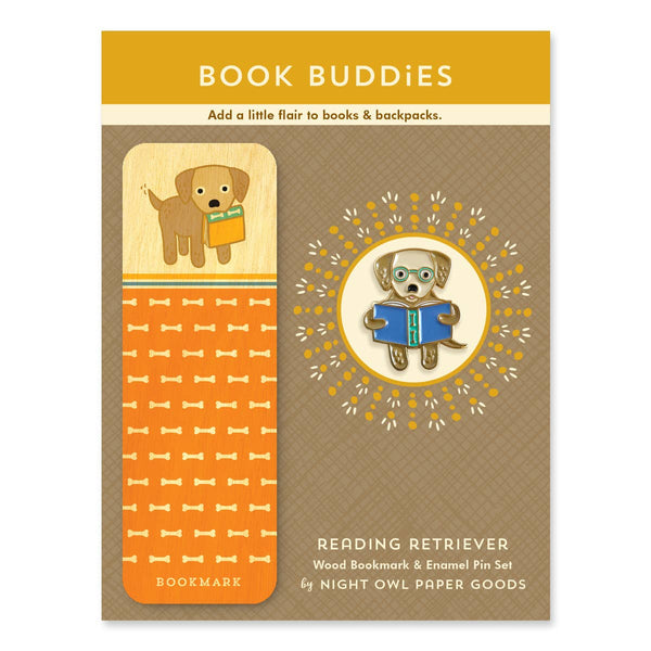 READING RETRIEVER ENAMEL PIN & BOOK MARK SET