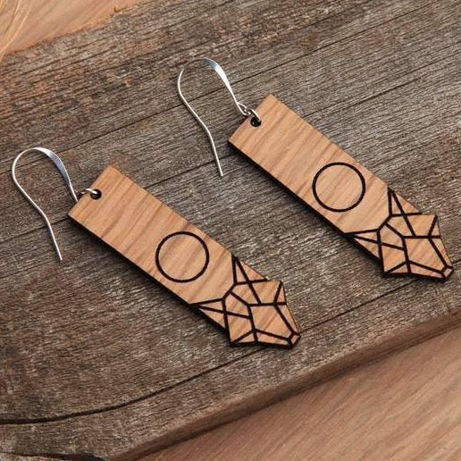 WOOD FULL MOON COYOTE EARRINGS