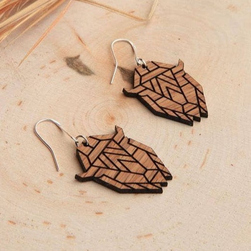 WOOD BISON HEAD EARRINGS