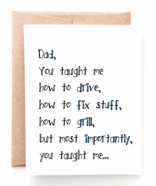 THINGS YOU TAUGHT ME FATHER'S DAY CARD