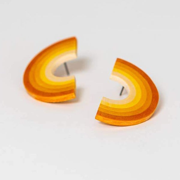 DOUBLE RAINBOW EARRINGS - TANGERINE