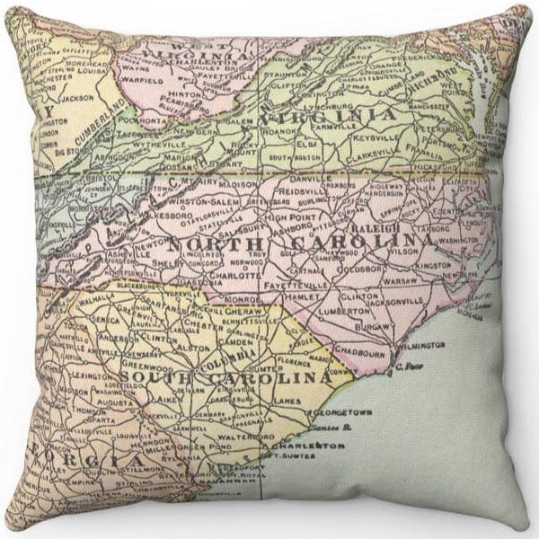 THE CAROLINAS VINTAGE MAP PILLOW