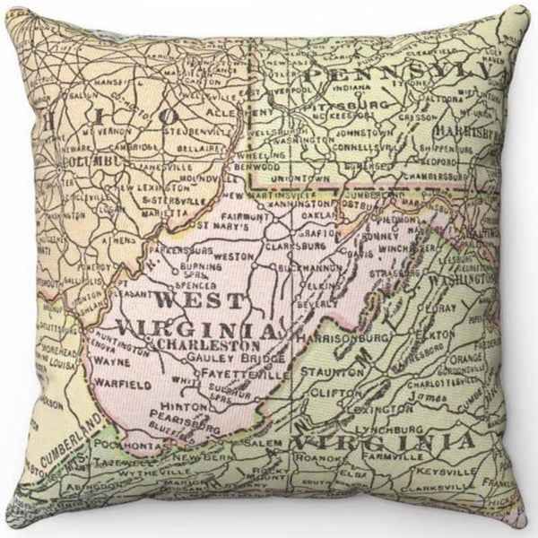WEST VIRGINIA VINTAGE MAP PILLOW PINK STATE