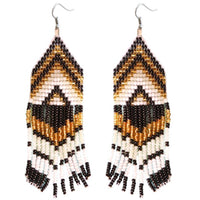 HAND BEADED EARRINGS - BLACK & GOLD