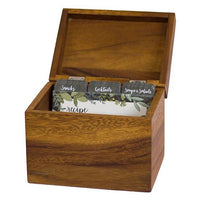 WOOD KEEPSAKE RECIPE BOX WITH CARDS
