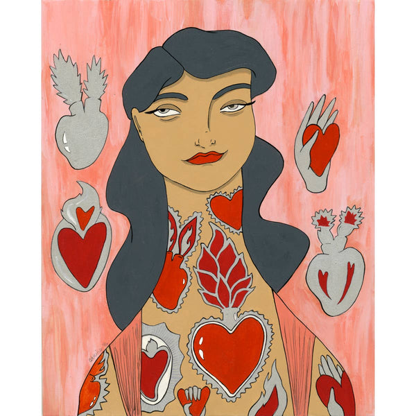 HEARTS TATTOOED LADY SIGNED PRINT