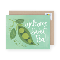 WELCOME SWEET PEA BABY CARD