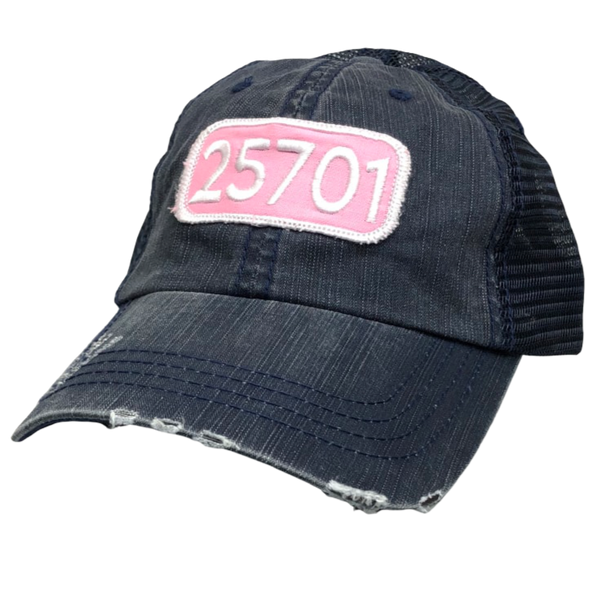 TRUCKER HAT NAVY WITH PINK & WHITE 25701 PATCH