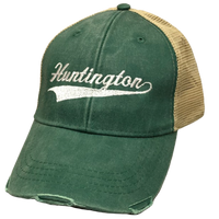 TRUCKER HAT GREEN WITH WHITE HUNTINGTON EMBROIDERY