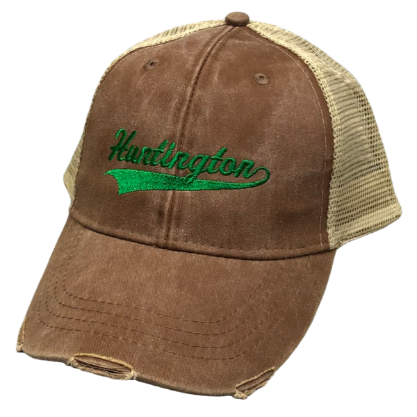 TRUCKER HAT BROWN WITH GREEN HUNTINGTON EMBROIDERY