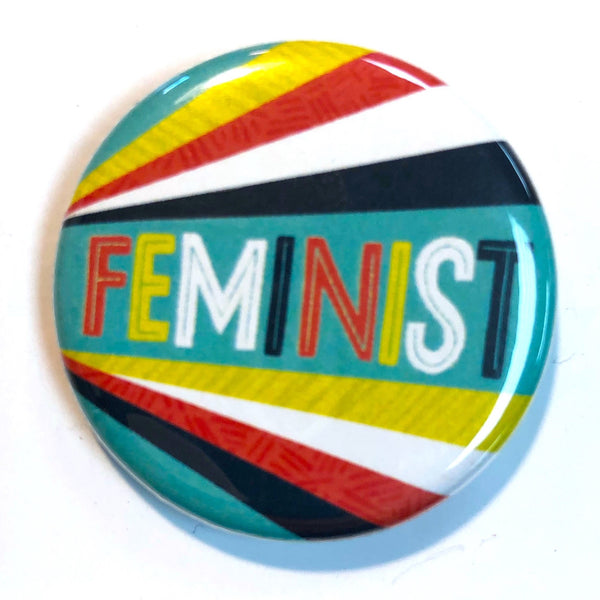 COLOR STRIPE FEMINIST BUTTON