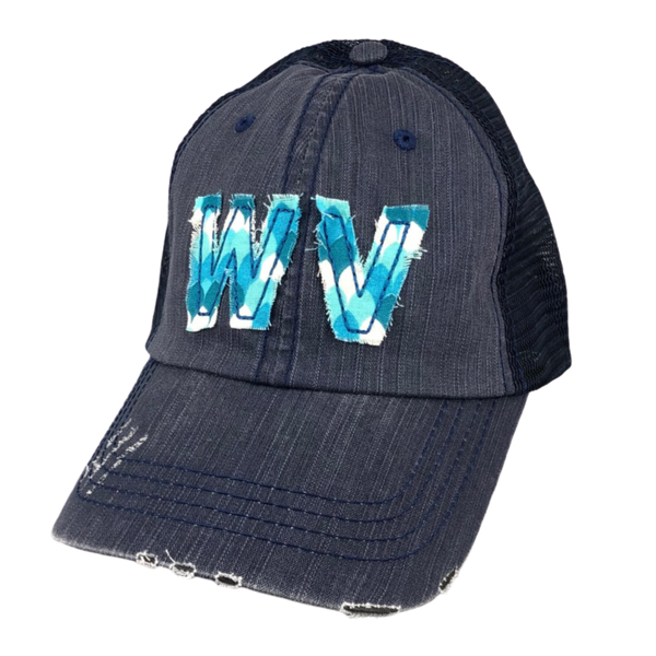 TRUCKER HAT NAVY WITH FLORAL WV PATCH