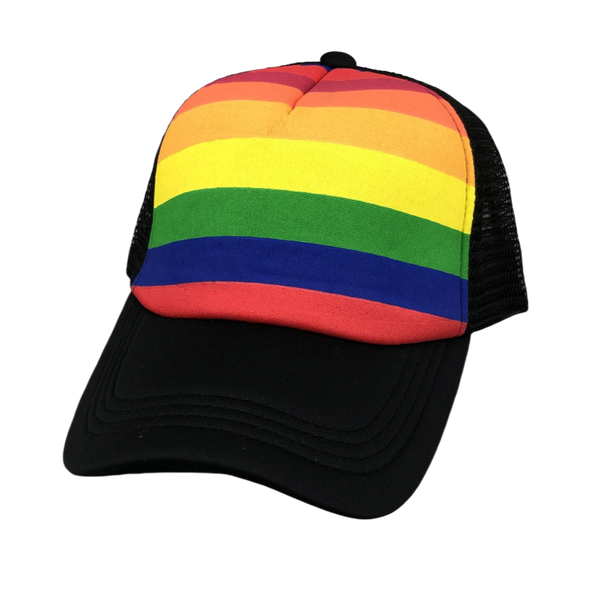 RAINBOW BLACK TRUCKER HAT