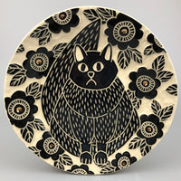 FAT BLACK CAT HANDMADE PLATE