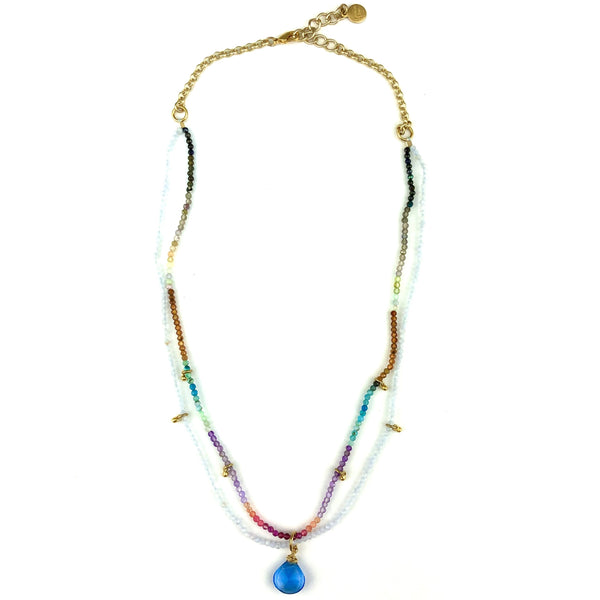 AVERY GEMSTONE NECKLACE - RAINBOW MULTI