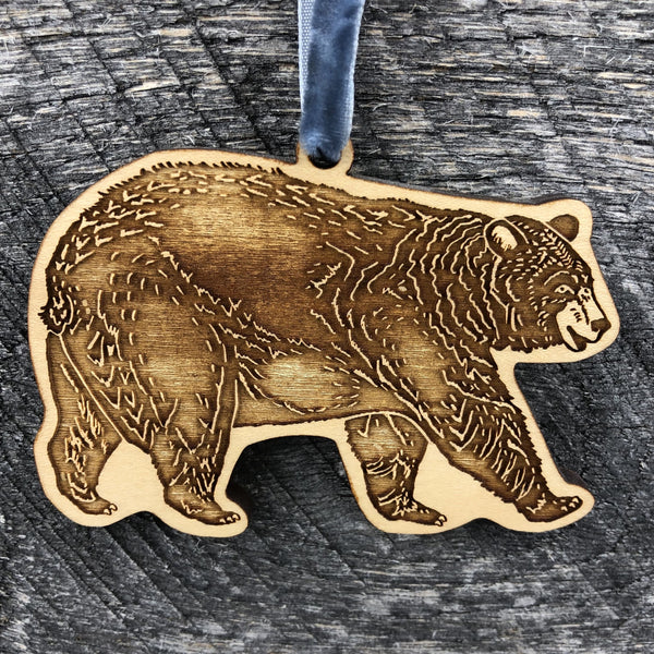 LASER CUT & ETCHED WOOD ORNAMENT - BEAR