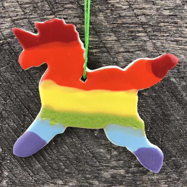 HANDMADE CERAMIC UNICORN RAINBOW ORNAMENT