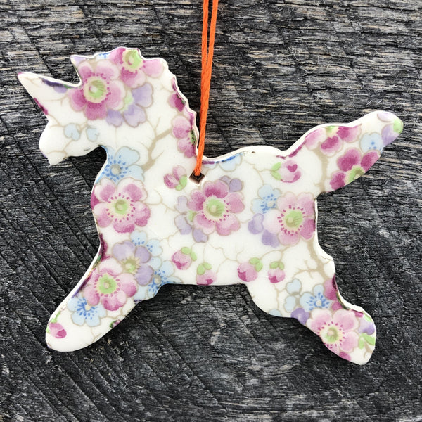 HANDMADE CERAMIC UNICORN PATTERNED ORNAMENT