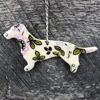HANDMADE CERAMIC DACHSHUND PATTERNED ORNAMENT