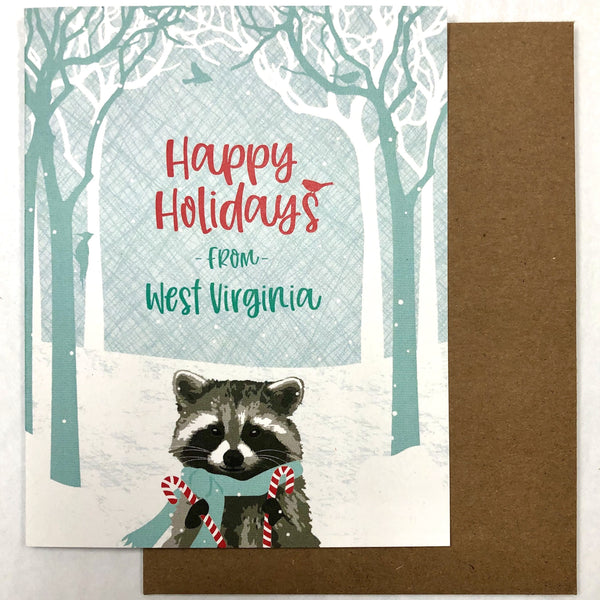 WEST VIRGINIA RACCOON HOLIDAY CARD - BOXED SET