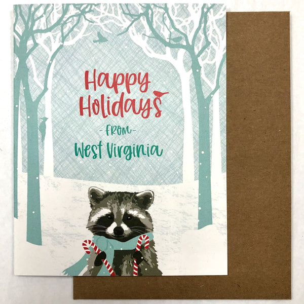 WEST VIRGINIA RACCOON HOLIDAY CARD