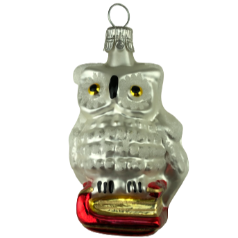 GLASS ORNAMENT - OWL WITH BOOKS