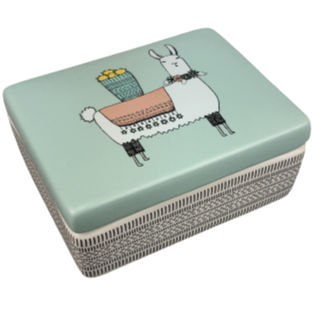 CERAMIC JEWELRY BOX - LLAMA MAMA DESIGN