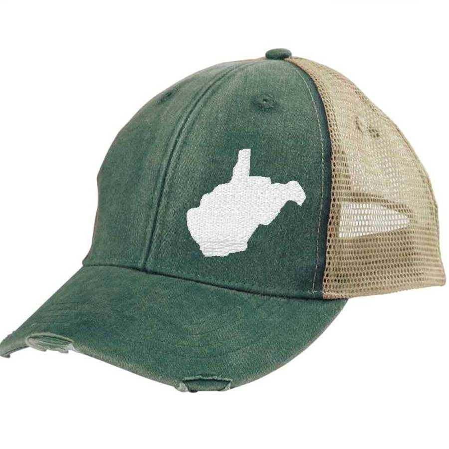 WV - Off-Center Green and White Trucker Hat