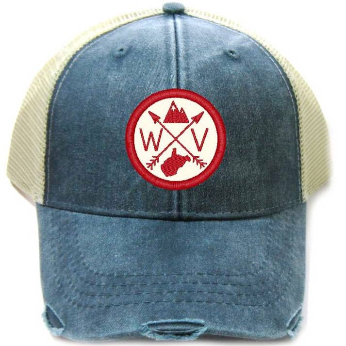WV - Distressed Navy & Red Patched Trucker Hat