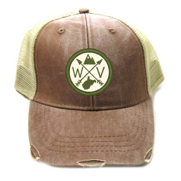 TRUCKER HAT BROWN WITH GREEN & WHITE WV PATCH