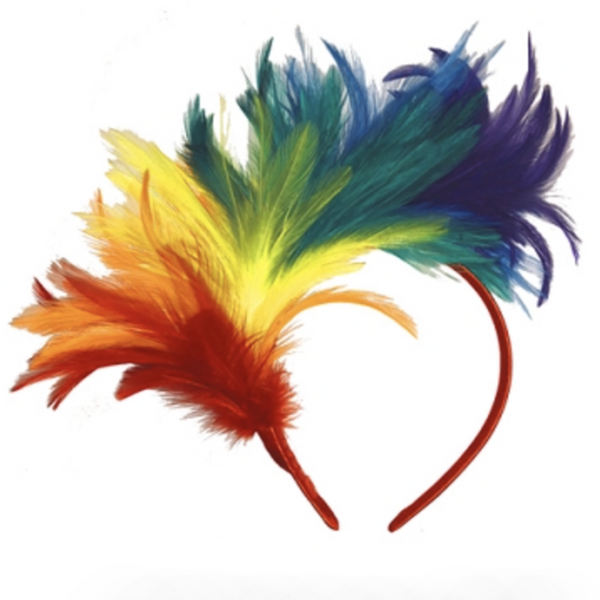 RAINBOW FEATHER FASCINATOR HEADBAND