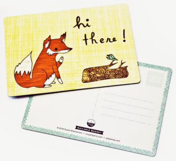 FOX HI THERE MAGNETIC POSTCARD