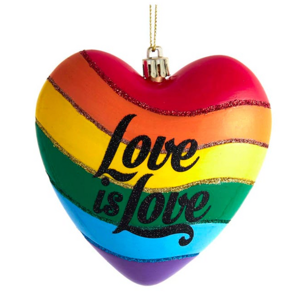 GLASS ORNAMENT - RAINBOW HEART LOVE IS LOVE