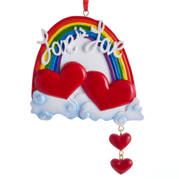 RESIN ORNAMENT - RAINBOW WITH HEARTS LOVE IS LOVE