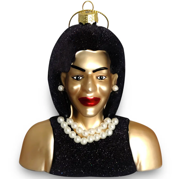 GLASS ORNAMENT - MICHELLE OBAMA BUST