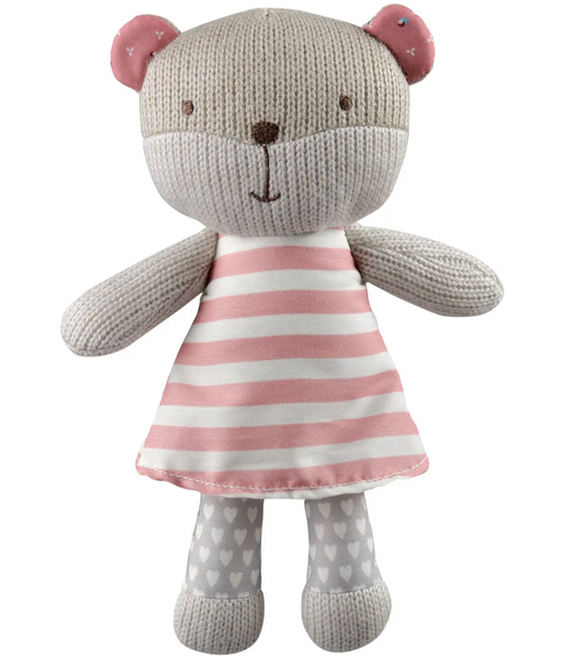 STORKI KNITTED TEDDY BEAR WITH RATTLE - PINK DRESS