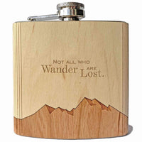 WOOD INLAY FLASK - NOT ALL WHO WANDER...