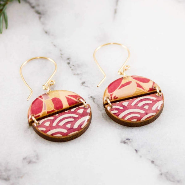 TWO HALVES JAPANESE PAPER EARRINGS