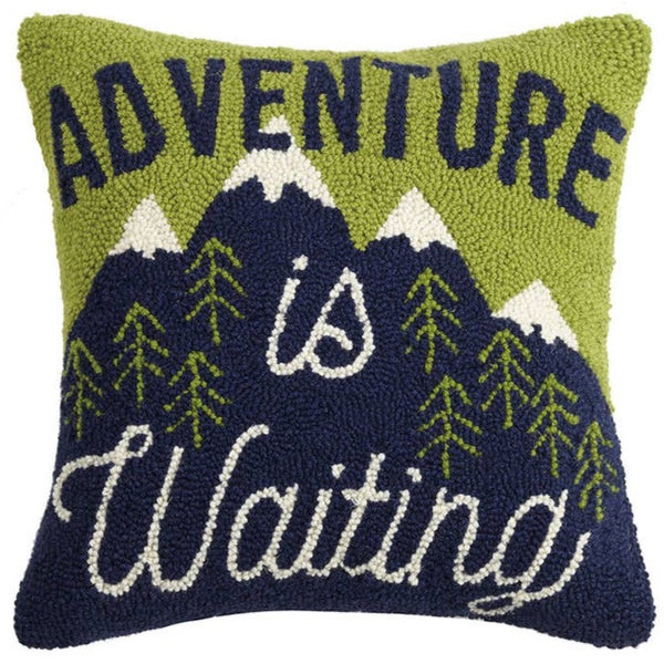 ADVENTURE IS WAITING WOOL HOOKED PILLOW